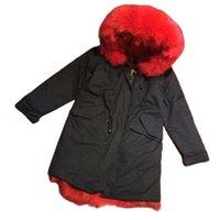 밝은 빨간 모피 줄 지어 파카 미스터 겨울 착용, 패션 럭셔리 탑 판매 진짜 여성의 가짜
