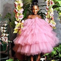 Princess Flower Girl Dresses Spaghetti Strap Multilayered Ruffles Birthday Party Wear For Wedding Sleeveless Ankle Length Little Baby Pageant Gowns