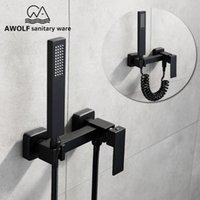 Black Bathroom Shower Set Brass Hand Held High Pressure Head Wall Mounted &Cold Valve Mixer Tap Bathtub Faucet AP2114 Sets