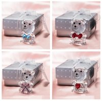 Lovely Crystal Bear Favor Romantic Wedding Valentine's Day Gifts With Colorful Box Party Favors Baby Shower Souvenir Ornaments For OOD5652 PRN6