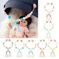 Stroller Parts & Accessories Baby Toy Wooden Pram Clip Mobile Personalize Silicone Bead Pacifier Chain Chewable Rattle Teether