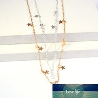 Fashion Gold Star Pendant Necklace For Women Sweet Silver Color Star Tassel Choker Necklaces Minimalist 2021 Trend Jewelry