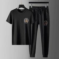 Kısa Kollu T-Shirt Suit erkek Ince Yaz Yeni Sıcak Matkap Köpek Başkanı Net Kırmızı Eğlence Spor İki Parçalı Set