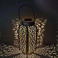 Lanternes solaires en fer forgé Solaire Melon Citrouille de citrouille Jardin creux Lampe de table européenne