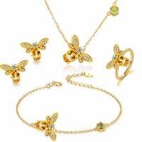 Jóia colorida prata pura 100% natural cristal amarelo azivine abelha colar brincos pulseira anel 14k bracelete de ouro,