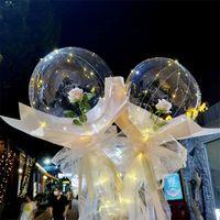 Прозрачный BOBO Ball LED светящийся воздушный шар розовый букет роза роза день Святого Валентина подарок воздушный шар для дня рождения свадебный декор 1465 v2