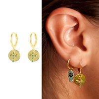Hoop & Huggie Viny Turquoise Cross Round Earrings For Women 925 Sterling Silver Hoops Pendientes 2021 Trend Fine Jewelry