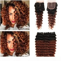 Dark Auburn Ombre Peruvian Deep Wave Human Hair 3Bundles with Closure #1B 33 Copper Red Ombre Lace Closure Piece 4x4 with Weave Bundles