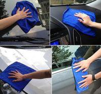 Reinigungstücher Wasserabsorbierendes Fahrzeughandtuch Praktische blaue weiche absorbierende Tuch Mikrofaser für das Autowaschen Trocknen Polieren 3 / 6pcs