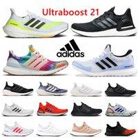 2021 Adidas UltraBoost 21 Mens Mulheres Correndo Sapatos Ultra Boost 20 UB 4.0 Triplo Preto Amarelo Amarelo Dourado Vermelho Walker Branco Criado Sports Sapatilhas ao ar livre