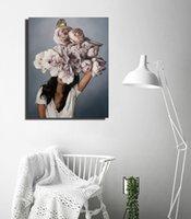 40x60cm pintura abstrata flores modernas mulheres DIY Número de pintura a óleo sobre tela casa decoração figura fotos presente rrd6234