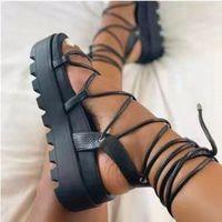 Sandals Woman Gladiator Ladies Ankle Wrap Wedges Women Platform Shoes Female Fashion Lace Up Women's Footwear Plus Size 43