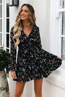 Women Holiday Mini Sun Dress Frill Ladies Summer Beach Print Floral Long Sleeve Evening Short Sundress Casual Dresses