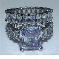 VECALON Severler Yüzük Setleri 925 Ayar Gümüş Prenses Kesim Elmas Nişan Düğün Band Yüzük Kadınlar Için Parmak Takı
