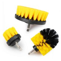 3Pcs Set 2 3.5 4'' Electric Scrubber Drill Kit Plastic Round Cleaning for Carpet Glass Car Tires Nylon Brushes