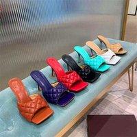 Designers Femmes Sandales Sandales Lambskin Tache de grille rembourrée Open orneaux à talons hauts plats Solide Solide Pantoufles multicolores Chaussures de styliste All-match Chaussures Heel 9cm