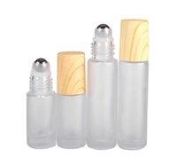 Новые матовые прозрачные стеклянные роликовые бутылки флаконы контейнеры с металлическим роликовым шариком и деревянной пластиковой крышкой для эфирных нефтяных духов