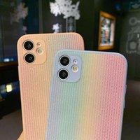 Compatible para iPhone 11 Pro 5.8 pulgadas Casos creativos lindo Rainbow Rosa Rango Línea Funda suave Protección de caída Botas de descarga Amortiguador