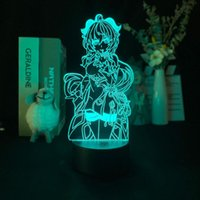 أضواء الليل 3D مصباح genshin تأثير لعبة الإسقاط ضوء المنبه قاعدة delineascope 7 اللون مع جو بعيد