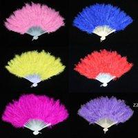 10 цветов складной перьев вентилятор для вечеринки украшения ручной удерживаемый старинный китайский стиль танца свадебное ремесло пуховые перья складные танцы hwd9130