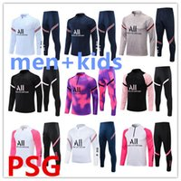 21/22 Pariser Trainingsanzug 2021 2022 Kinder und Männer Trainingsanzug Mbappe Langarm Training Set Fußball Fußball Jersey Kit einheitliches chandal