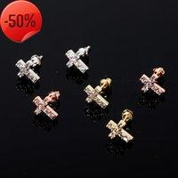 925 Silver Earrings For Men Women Luxury Bling Zircon Stud Fashion 18K Gold Rhodium Plated Hip Hop Cross Jewelry