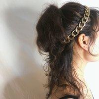 Cadena de metal Headbands Moda Temperamento Terreno Cadenas Tienda Diadema Estilo étnico Textura Cuba-Cadena Cuba Elástica Hairband Cuerda Pelo Exagerada Cabeza Corbata