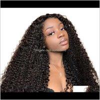 Kinky Curly Dentelle Front Perruque Vierge Vierge Brésilienne Perruques de dentelle pleine dentelle pour femmes Couleur naturelle VI7A4 AAKMC