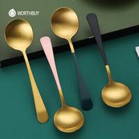 Spoons Worthbuy 2 Pçs / Definir Ouro Jantar Sopa Colher De Aço Inoxidável Café Chá Para Cozinha Table Utenses Longa Handle Serving Set