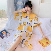 Two Piece Dress Plus Size Women's Cartoon Sleepwear Short Sleeve Cute Night Summer Cotton Nightgown Casual Nightshirt Home Female 142 S5PJ