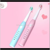Salute Beauseleelectric Spazzolino da denti con 4 teste di ricambio 5 modalità IPX7 Impermeabile Sonic Denti Teetico Igiene Spazzola per igiene orale rosa Blu Drop Consegna 2