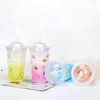 Glass Pattern Double Layer Bottles Mug 15oz 450ml Plastic Tumbler Reusable Clear Drinking Flat Bottom Cup Pillar Shape Lid Straw Mugs Bardian UV Wholesale