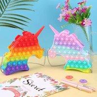 Pop Bubble Fidget Bag Toy Rodent Pioneer Crossbody Bag Messenger Press Unzip Rainbow Macaron Color Puzzle Decompression Toy