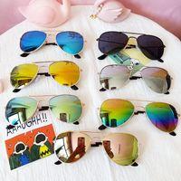 클래식 Sunblock 선글라스 소녀 다채로운 거울 어린이 안경 금속 프레임 아이들 여행 쇼핑 안경 UV400 7 색