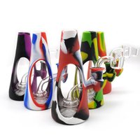 The silicone pipe Hookahs Thick glass Water Bongs Beaker Dab Rigs Smoke Pipe Glass Bubbler Dabber