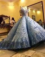 2021 Light Blue Ball Gown Quinceanera Dresses Beads Lace Appliques Formal Prom Gowns Sweet 16 Dress vestido de 15 anos