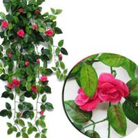 인공 매달려 장미 꽃 파티 정원 장식 7 색 친화적 인 잎 화환 식물 포도 나무 잎 DIY HWB6734