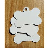 2021 DHL300pcs Sublimation DIY Blank White Metal Bone Pet Dog tag ID Card