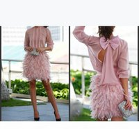 2019 New Gorgeous Feather Short Prom Dresses Pink Long Sleeves Open Back With Bow Evening Gowns Cocktail Party Dresses For Special Occasion
