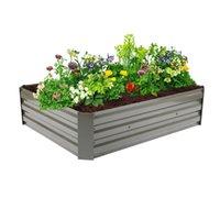 Açık demir dikim yetiştiricilerinin tencere çerçevesi dikdörtgen metal bahçe park yatağı çiçek yalak sokak boyama kutusu kombinasyonu hareketli