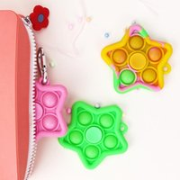 Party Decompression Sensory Toys Keychain Fidget Spinner Spin Finger top Five-pointed star Handheld Stress Reliever Toy type Children for Gift
