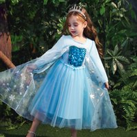 Baby Girls Princess Dress Sequins Mesh Dress Kids Cosplay Clothes Performance Costumes Snow Queen Halloween Party Stage Gown 06