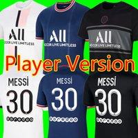 Version du joueur 21 22 Messi PSG Soccer Jerseys Mbappe Sergio Ramos 2021 2022 Troisième maillot de football Top Foot de football Neymar Jr Hommes + Kit Kit Uniformes Enfants Maillot de Foot