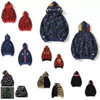 Fashion men zip-front shark hoodie camouflage print batching ape Sweatshirt cardigan Hoodies Hip Hop Letters Long Sleeve Plush mens womens
