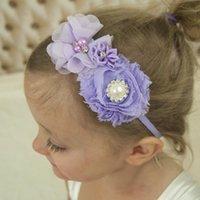 Shabby Şifon Çiçek El Dikiş Ile Armut Rhinestone Mini Poligonal Çiçekler Kafa Butik Saç Aksesuar Aksesuarları