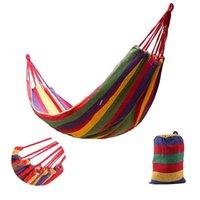 Travel Camping Canvas Hammock Outdoor Swing Garden Indoor Sleeping Rainbow Stripe Single Hammocks With Bag Bed 185*80CM NHA5555