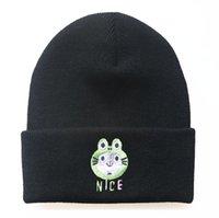 귀여운 만화 고양이 자수 모자 남자 여자 겨울 따뜻한 모자 힙합 스타일 양모 모자 야외 스포츠 캡