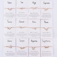 12 Horoscope Zircon Zodiac Signs Bracelet Constellations Bracelets For Women Jewelry DHL