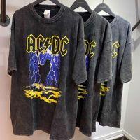 T-shirt High Street sobre tamanho solto ACDC Rock Band Impresso Casal de Manga Curta Na Moda