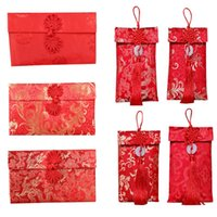 Greeting Cards Silk Red Envelopes Chinese 2021 Year Hongbao Lucky Pocket For Christmas Wedding Home Decoration Gift